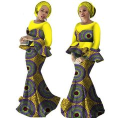 spring Skirt Set African Traditional Print Clothing Plus Size with Free Head Sca