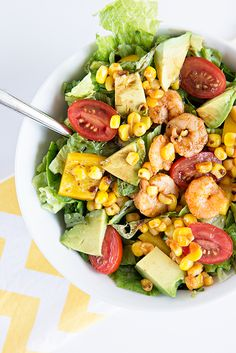 Spicy Shrimp and Avocado Salad by dineanddish.net ~ an amazing summer salad with a blend of hot Sriracha Shrimp and fresh California Avocados.
