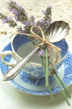 Lavender and vintage tea cups