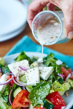 {~Je: I made this recipe, with regular yogurt *not Greek yogurt) and with the feta cheese. It was good, but I think I'll still be looking.} Greek salad dressing - It goes from salads to veggies to meat without blinking an eye.