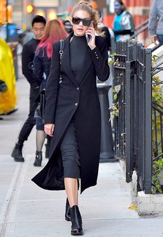 With workwear, the trick is all in the minimal silhouette, so take notes from Gigi Hadid and start with a high-neck knitted midi in charcoal (note the cool, unexpected racer-cut finish). Button over a structured black overcoat, plus pointed ankle boots and a no-fuss leather shoulder bag for that commute-friendly win. Then for your PM switch-up? Trade in a leather jacket and swap out the booties for some AW16 black mules