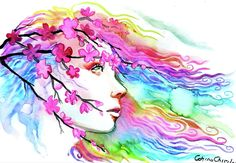 Erotica, Watercolors, Watercolor Tattoo, Greeting Cards, Wall Art, Portrait, Spring, Painting, Water Colors