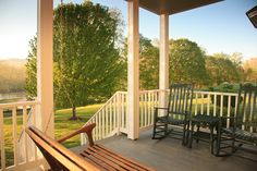 Somehow everyone manages to have time to sit a bit here on the porch of the Riverside House at Fort Lewis Lodge.
