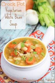 My Vegetarian White Bean Soup simmers all day in the Crock Pot. Carrots and spring onions make this dish vibrant for any month of the year! #vegetarian #whitebeans