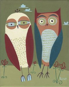 2 Owl Print  Couple of Owls Mod Mid Century Style Folk by 3crows