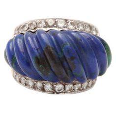 David Webb Azurite Diamond Gold Platinum Ring