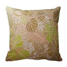 Embossed Golden Leaf Throw Pillow
