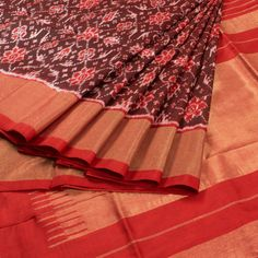 Sarveshi Brown Handwoven Ikat Silk Saree 10007743 - AVISHYA