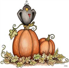Crow and Pumpkins - Laurie Furnell Halloween Gif, Halloween Rocks, Halloween Clipart, Halloween Drawings, Halloween Images, Halloween Cards, Halloween Themes, Autumn Painting, Autumn Art