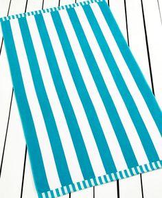 Martha Stewart Collection Basic Stripe Turquoise Beach Towel
