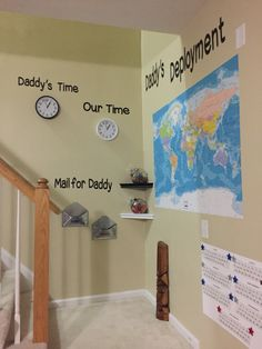 Daddy's Deployment Wall is an interactive way for the kids to track deployment progress.  A bubblewrap countdown calendar, world map with ship cutouts to track Daddy, candy jars with bedtime gummy bears hugs from Daddy, mailboxes and clocks for Daddy's Time and Our Time.