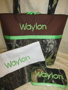 SHIPS FREE Handmade mossy oak camo camouflage lime green diaper bag wipes case and burp cloth