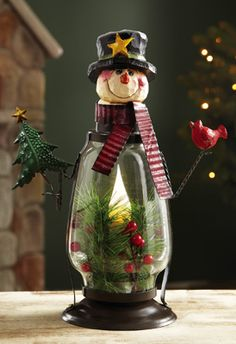 Snowman Lantern LED Flameless Candle Night Light