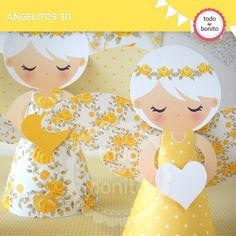 Shabby Chic amarillo: angelitos 3D - Todo Bonito Christmas Crafts For Kids, Xmas Crafts, Paper Crafts, Corn Husk Dolls, Paper Angel, Paper Engineering, Elves And Fairies, Angel Ornaments, Art Lesson Plans