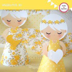Shabby Chic amarillo: angelitos 3D - Todo Bonito