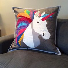 Quilted unicorn pillow. Pattern from Robynie quilts.