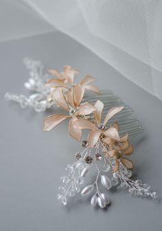 Nail Polish Lily Flowers Handmade Bridal Headpiece In Nude
