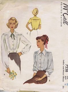 7238 McCall VINTAGE Sewing Three Blouse Patterns Size 14 BUST 32 HIP 35 CUT 40's