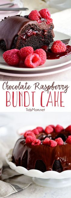 Chocolate Raspberry Bundt Cake with a surprise raspberry filling and a Chocolate Chambord Glaze will put any chocolate lover into a state of pure bliss. Get the full printable recipe for this chocolate bundt cake at TidyMom.net