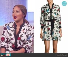 7f9711a9b196bb Adrienne s white floral dress on The Real. Outfit Details  https   wornontv