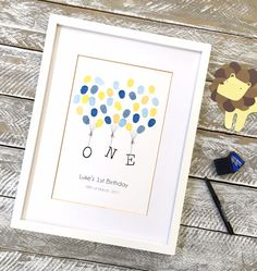 First birthday guest book. Kids birthday ideas. From Daisywood - fingerprint guest books.