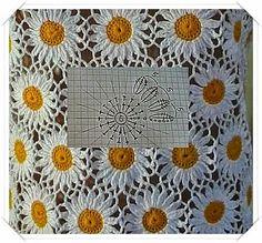 Crochet Bedspread Patterns Part 9 - Beautiful Crochet Patterns and Knitting Patterns Gilet Crochet, Crochet Motifs, Crochet Flower Patterns, Crochet Stitches Patterns, Crochet Diagram, Crochet Chart, Crochet Squares, Thread Crochet, Crochet Designs