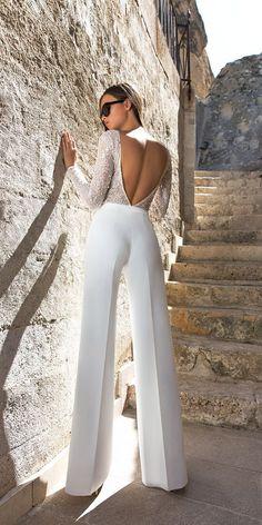 moderm bridal jumpsuit with open back long sleeves trend 2018 eva lendel kody