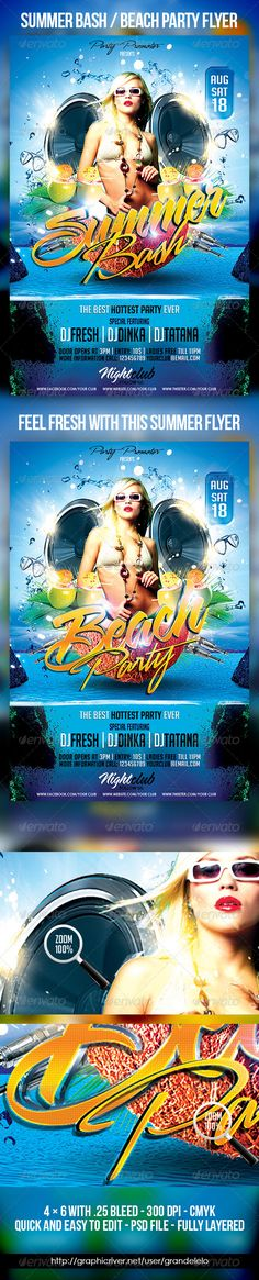 Summer or Beach Party   TO DOWNLOAD PSD TEMPLATE CLICK HERE: http://graphicriver.net/item/summer-or-beach-party-/2747869?ref=grandelelo