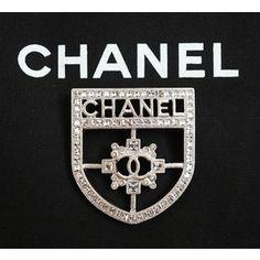 Pre-owned Chanel Shield Metal Crystal Brooch 15b