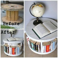 of the BEST Upcycled Furniture Ideas! : Turn a Cable Spool into a Bookshelf…awesome upcycle idea! Turn a Cable Spool into a Bookshelf…awesome upcycle idea! Turn a Cable Spool into a Bookshelf…awesome upcycle idea! Handmade Home Decor, Diy Home Decor, Upcycled Home Decor, Handmade Table, Handmade Decorations, Diy Casa, Furniture Makeover, Furniture Ideas, Furniture Showroom