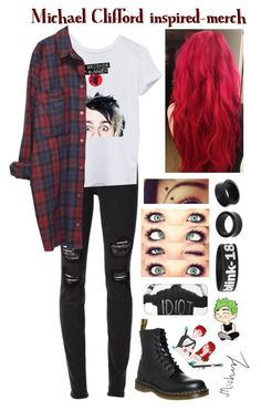 """""""Michael Clifford inspired-merch"""" by roxouu ❤ liked on Polyvore featuring Joe's Jeans, NOVICA, Dr. Martens and Monki"""