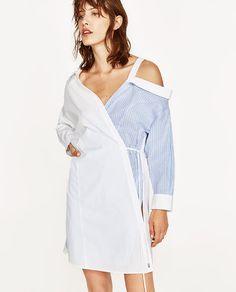 ZARA - WOMAN - CONTRASTING SHIRT DRESS WITH CUT-OUT COLLAR