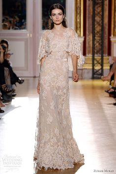 zuhair murad fall 2012 couture lace cape dress