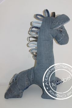 Lief paard; deze knuffel van old jeans! Made by A-leebel.nl