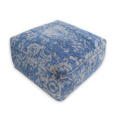 This ottoman is an Indian chenille hand-woven pouf featuring an oriental graphic design. It is designed to be simple, but also astonishing, in order to perfectly fit into modern homes, even as a stand-alone piece. It looks very picturesque and creates a unique environment, especially if matched with other oriental components.