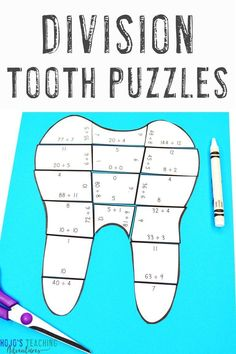These DIVISION puzzles work great for Dental Health Month activities in February. Use them as math centers, review, early or fast finishers, test prep, and more with 3rd, 4th, or 5th grade students. Third, fourth, and fifth graders all enjoy the hands-on, engaging learning FUN that takes place. Click to learn more now! #3rdGradeMath #4thGradeMath #5thGradeMath #DentalHealthMonth #Teeth #Tooth #Math #MathGames #MathCenters #MathPuzzles