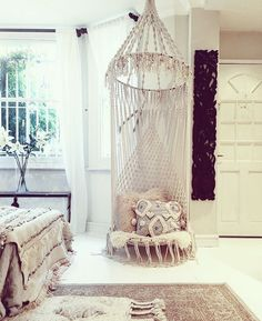 Modern macrame and wall hangings, made in the UK by LarkandFable Macrame Hanging Chair, Macrame Chairs, Macrame Plant Hangers, Bohemian Bedroom Decor, Micro Macramé, Macrame Design, Diy Chair, Dream Home Design, Diy Home Decor