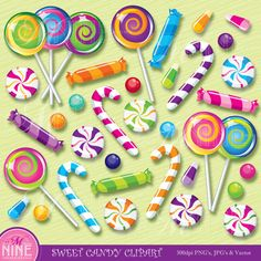 Clip Art SWEET CANDY Clipart Illustrations Vector Art File, Instant Download, Fun Lollipops Candy Canes Candy Corn Gumballs Icons Graphics