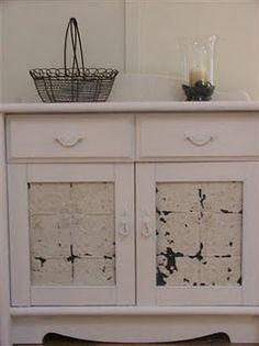 Vintage pressed metal door inserts