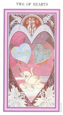 TWO OF HEARTS (Cups) from The Enchanted Tarot by Amy Zerner and Monte Farber (St. Martin's Press).