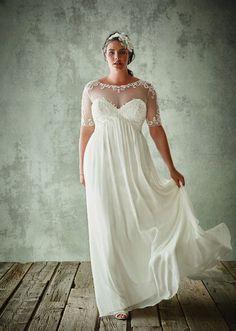 Plus Size Brautkleider Mit Halbarm Sheer Jewel Neck Spitze Appliqued Brautkleider Chiffon Reich Taille Hochzeitskleid