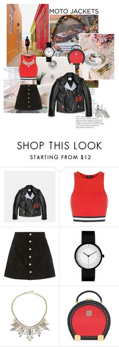 """""""After Dark becomes Red: Moto Jackets"""" by sugaplump ❤ liked on Polyvore featuring Coach, New Look, AG Adriano Goldschmied, ABS by Allen Schwartz, MCM, Dolce&Gabbana and motojackets"""
