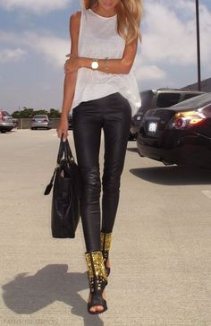 leather pants and simple tank