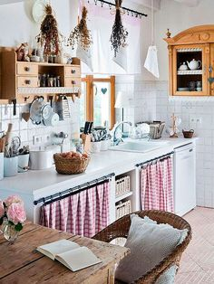 24 unique kitchen cabinet curtain ideas for an adorable home decor . - 24 unique kitchen cabinet curtain ideas for an adorable home decor style - Farmhouse Kitchen Curtains, Shabby Chic Kitchen, Farmhouse Chic, Gypsy Kitchen, Country Farmhouse, Farmhouse Ideas, Farmhouse Design, Farmhouse Valances, Vintage Kitchen Curtains