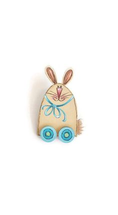 Hand Painted Bunny Lapel Pin or Brooch by ToletallyPainted on Etsy