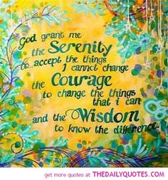 itself: gaining serenity to accept, having the courage to change what we can, and gaining wisdom to know the difference. This realization really helped during my first months in Al-Anon. Al Anon, Celebrate Recovery, Courage To Change, Serenity Prayer, Serenity Quotes, Religious Quotes, Spiritual Quotes, Prayer Quotes, Spiritual Thoughts
