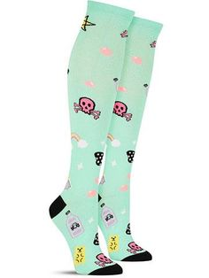 Crazy novelty Pretty in Poison knee high socks for women, in mint