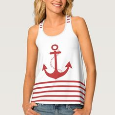 Trendy White Red Stripe with Anchor