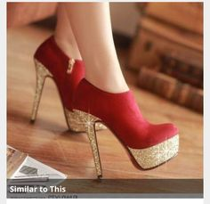 Red and glitter gold high heels.  Prom
