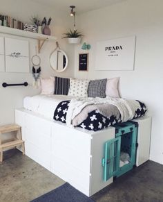 How to incorporate a dog crate with your stylish home decor. – ImpactDogCrates… How to incorporate a dog crate with your stylish home decor. Cool Dorm Rooms, Awesome Bedrooms, Kids Rooms, Cool Rooms For Teenagers, Cool Teen Rooms, Ikea Storage Bed Hack, Ikea Bed Hack, Bed Storage, Crate Storage